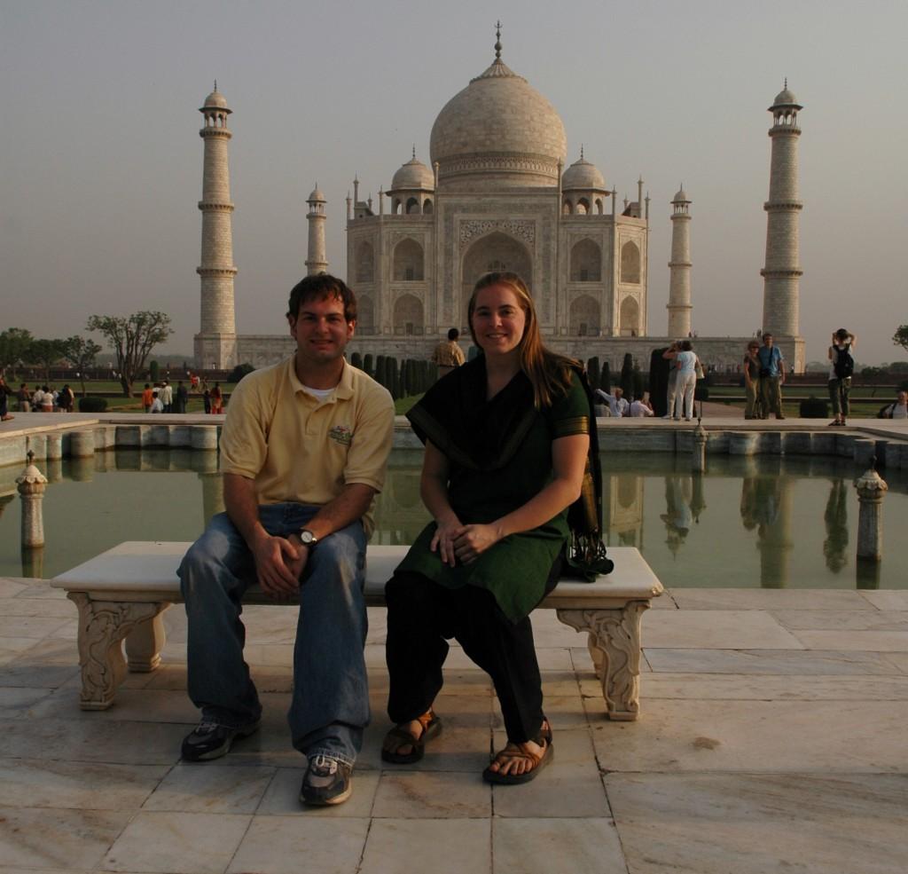 Jon and Cheryl in front of the Taj Mahal