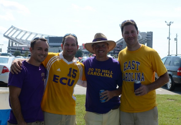 Chris, Jon, JG and Preston in front of the stadium at our tailgate spot.